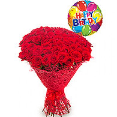 Balloon And Flower Delivery To Rome 30 Red Roses Happy Birthday